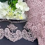 Кружево с цветочками и узорными листьями пыльно-розового цвета, вышивка шёлковой нитью, ширина 10,5 см, фото 2