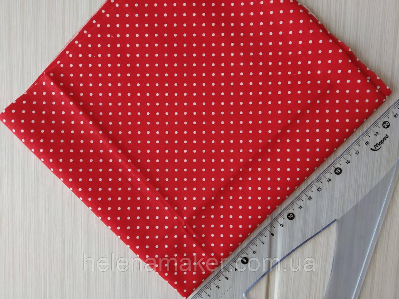 Бавовна в червоний горошок 2 мм. Розмір відрізу 50*50 см