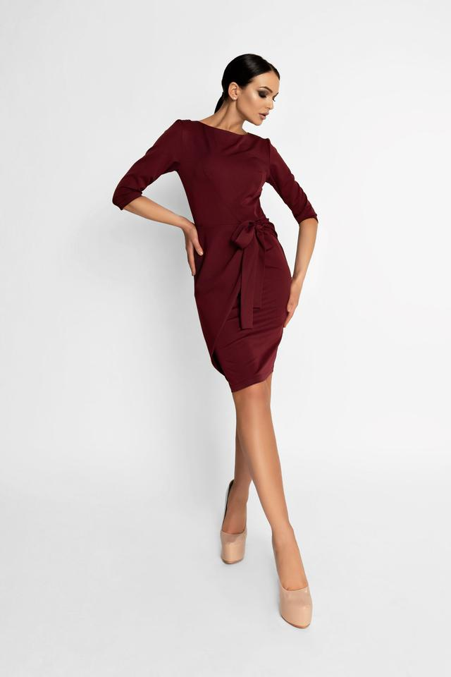 Женское элегантное платье, марсала, облегающее, приталенное, молодёжное, нарядное, офисное, классическое
