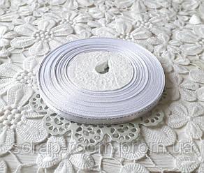 Лента атласная 0,6 см белая с люрексом серебро, лента с люрексом, лента атласная белая люрекс, цена за метр