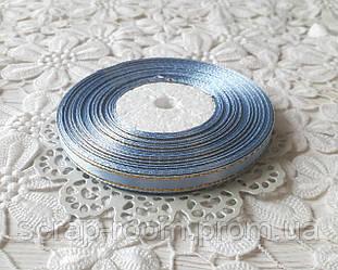 Лента атласная 0,6 см голубая с люрексом золото, лента с люрексом, лента атласная голубая люрекс, цена за метр