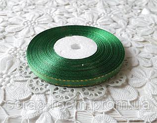 Лента атласная 0,6 см зеленая с люрексом золото, лента с люрексом, лента атласная зеленая люрекс, цена за метр