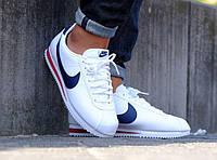 "Чоловічі кросівки репліка Nike Classic Cortez Leather White/Blue/Red"", фото 1"
