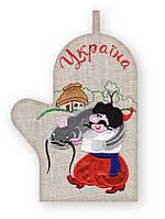 APV 5 Прихватка варежка, сувенир с вышивкой аппликацией, хлопок, фото 1