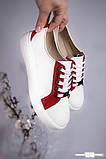 Белые женские кожаные кеды с замшевыми вставками, фото 4