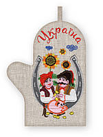 Прихватка варежка, сувенир с вышивкой аппликацией, натуральная ткань