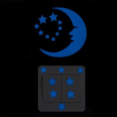 """Люминесцентные наклейки """"Луна со звездами"""" - 10*10см"""