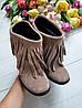 Женские ботинки из натуральной замши на удобном каблуке с бахромой , фото 2