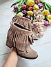 Женские ботинки из натуральной замши на удобном каблуке с бахромой , фото 4
