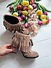 Женские ботинки из натуральной замши на удобном каблуке с бахромой , фото 5