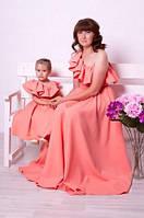Женское-детское Длинное ПЛАТЬЕ FAMILY LOOK Мама-Дочка с воланом, фото 1