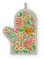 Прихватка варежка, сувенир с вышивкой аппликацией, хлопок, фото 1