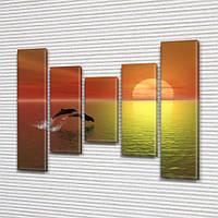 Дельфины на закате, модульная картина (животные, рыбы), 80x100 см, (80x18-2/55х18-2/40x18)