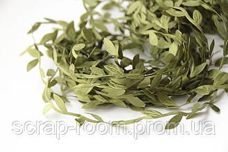 Лента зеленая декоративная с листочками, тканевая лента с зелеными листочками, листочки зеленые, цена за метр