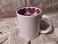 Печать на чашках белых с рисунком внутри, 320 мл