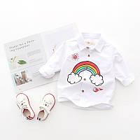 Детская рубашка с радугой, натуральный материал, код (38003)