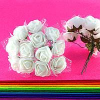 Розочки из фоамирана с фатином, диаметр 2-2,5см (цена за букет, 12 розочек) цвет- Белый