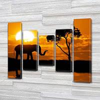 Слон на закате, модульная картина (животные, слоны, Африка) на Холсте син., 80x100 см, (80x18-2/55х18-2/40x18)