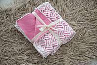 Плед ажурний в'язаний на трикотажі, колір рожевий, фото 1