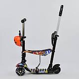 Самокат-беговел 5в1 Best Scooter 15600 з батьківською ручкою і сидінням, підсвічування коліс, фото 3