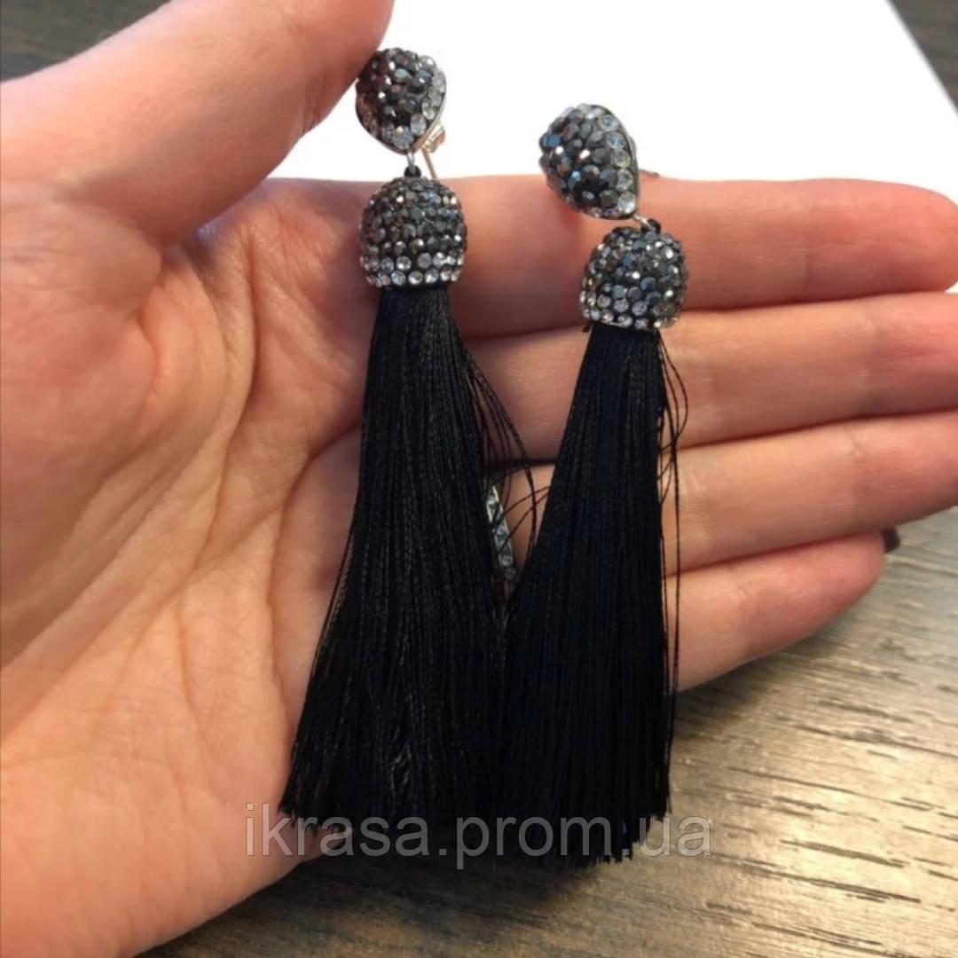 Сережки кисти з сяючими камінчиками чорного кольору