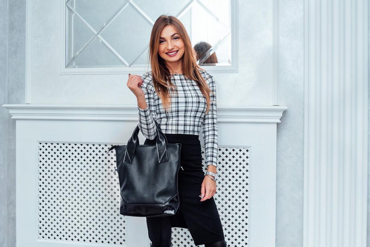 Женская кожаная сумка 40 черный флотар/наплак 014001-0301