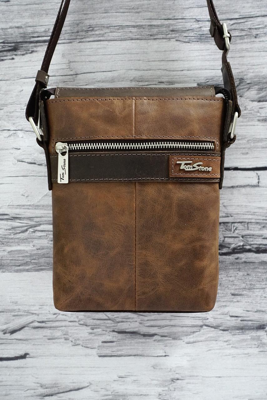 Двухсторонняя сумка из натуральной кожи Tom Stone 512 рыжая