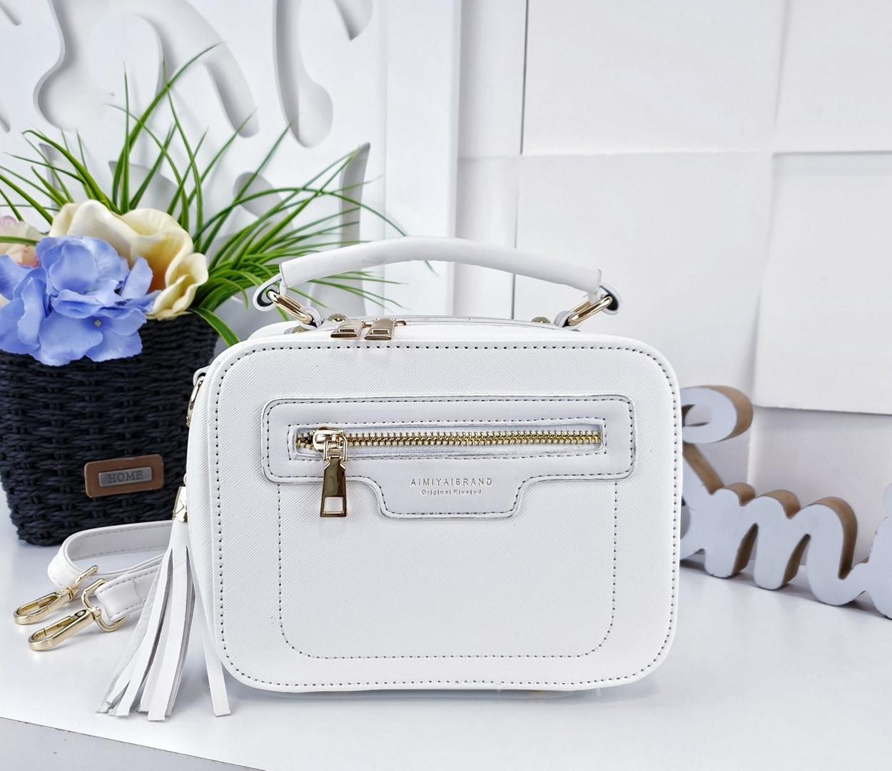 a13ab8c667af Модная сумка-клатч из искусственной кожи белого цвета с украшением  кисточкой - Баэль в Харькове