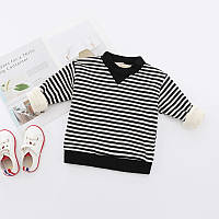 Полосатый свитер утепленный плюшем  Акция! Последний размер:  120см