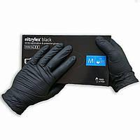 Перчатки нитриловые черные неопудренные NITRYLEX, 50 пар в упаковке, размер — М