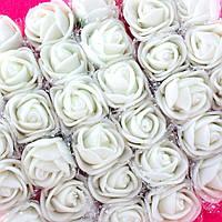 ОПТ Розочки из фоамирана с фатином, диаметр 2-2,5см (цена за пачку 144 шт) цвет- Белый