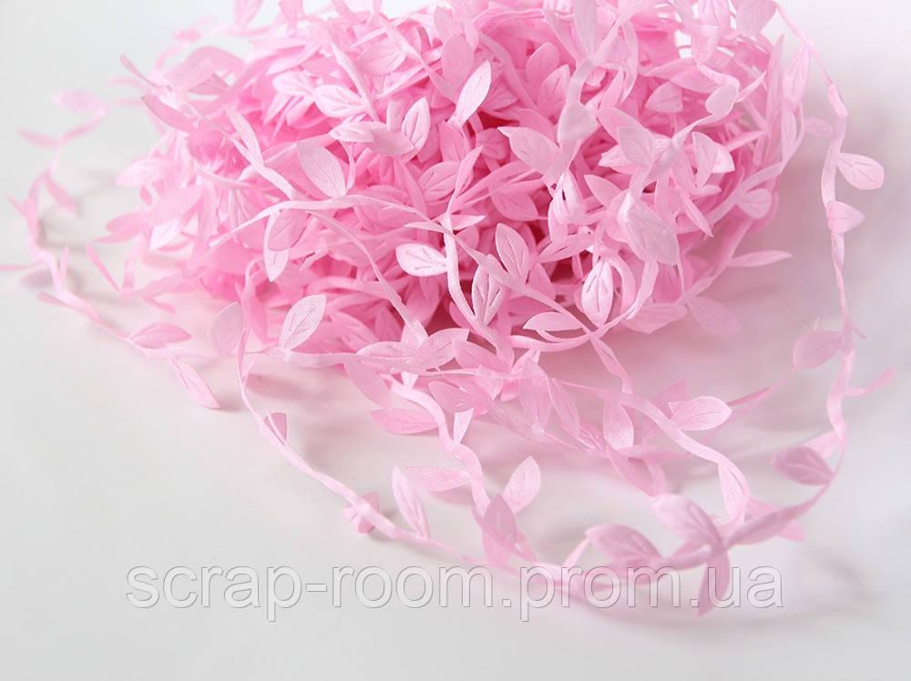 Лента розовая декоративная с листочками, тканевая лента с розовыми листочками, листочки розовые, цена за метр
