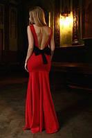 Женское Вечернее Длинное ПЛАТЬЕ с открытой спинкой и бантом, фото 1