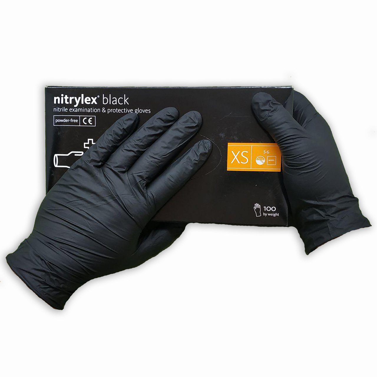 Перчатки  нитриловые Nitrylex Basic  неопудренные одноразовые 100 шт  размер   XS чёрные