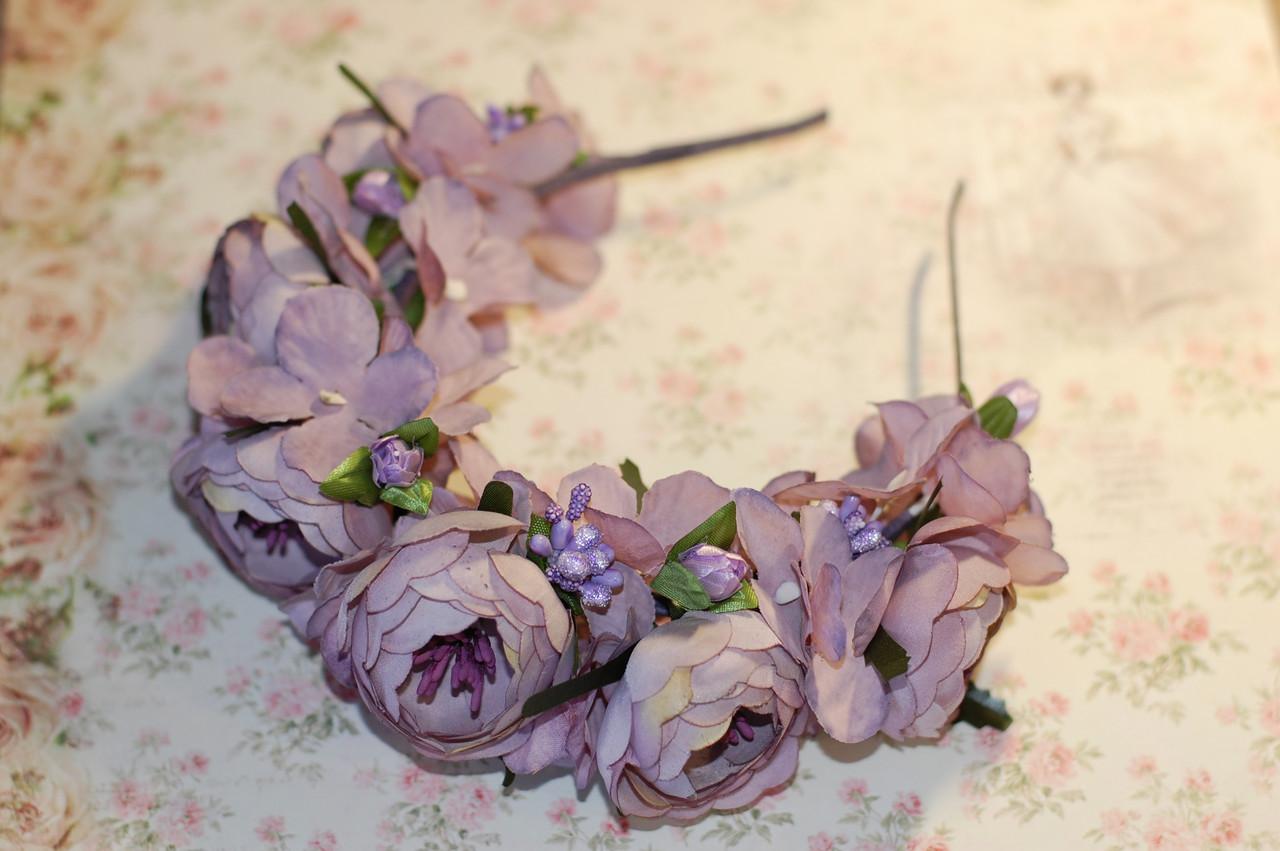 Ободок объемный для волос лавандовом цвете