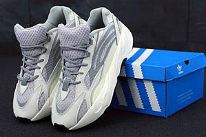 Мужские кроссовки Adidas Yeezy Boost 700 Static Light Grey (Адидас Изи Буст) светло-серые