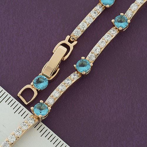 """Браслет XUPING 16,5/18,5 см """"Фрида"""" голубые камни, медицинское золото, позолота 18К"""