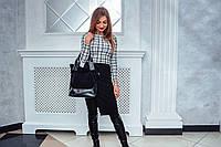 Женская сумка кожаная 40 черная замша/наплак 014005-0301