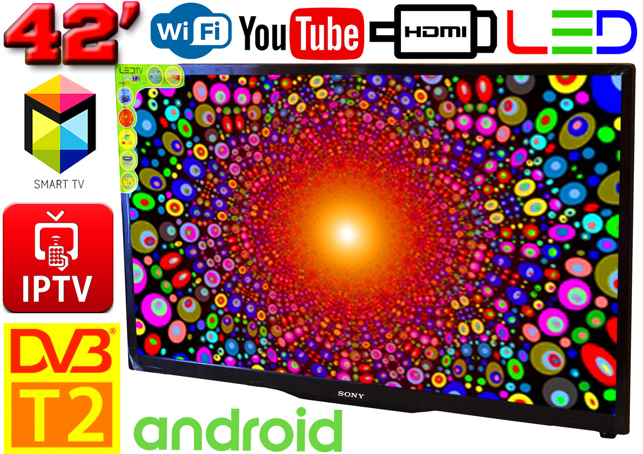 "Телевізор SmartTV SONY 42"" 4K 3840x2160,LED, IPTV, Android 9, T2, WIFI, USB, HDMI BluetoothКОРЕЯ!"
