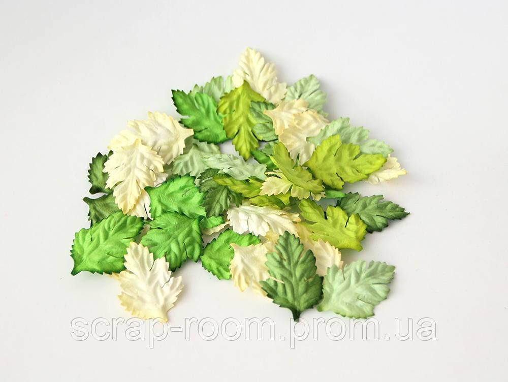 Листочки бумажные зеленые ассорти, листья зеленые ассорти, бумажные листочки, листочки шиповника зеленые