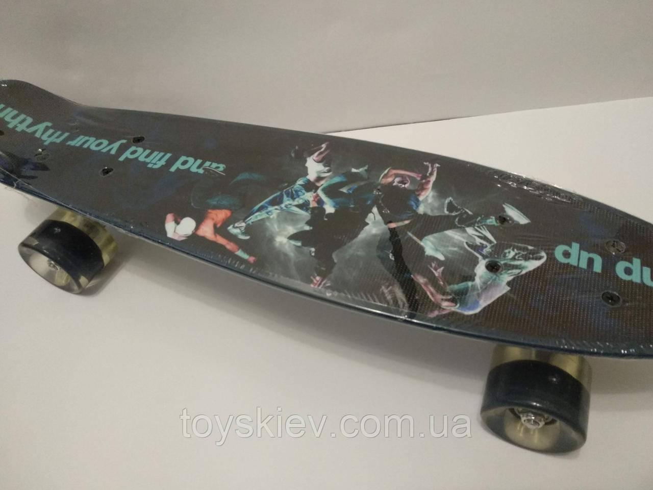 Скейт Пенни борд (Penny board) 820-23 с рисунком, светящийся