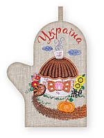 APV 9 Прихватка варежка, сувенир с вышивкой аппликацией, хлопок