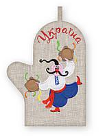 APV 13 Прихватка варежка, сувенир с вышивкой аппликацией, хлопок