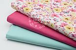 """Отрез ткани """"Цветочки среднего размера розовые и жёлтые с бабочками"""" № 1524а, фото 3"""