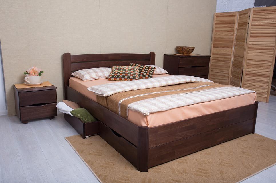 Кровать София с ящиками 160-200 см (орех темный)