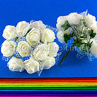 Розочки из фоамирана с фатином, диаметр 2-2,5см (цена за букет, 12 розочек) цвет- Айвори