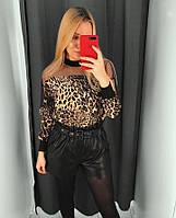 Шикарная и нарядная женская блуза цвет леопард размер XS-S