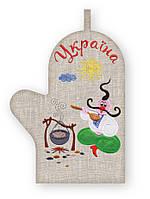 APV 14 Прихватка варежка, сувенир с вышивкой аппликацией, хлопок