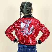 Детский курточка Бомбер блеск красный размер 122