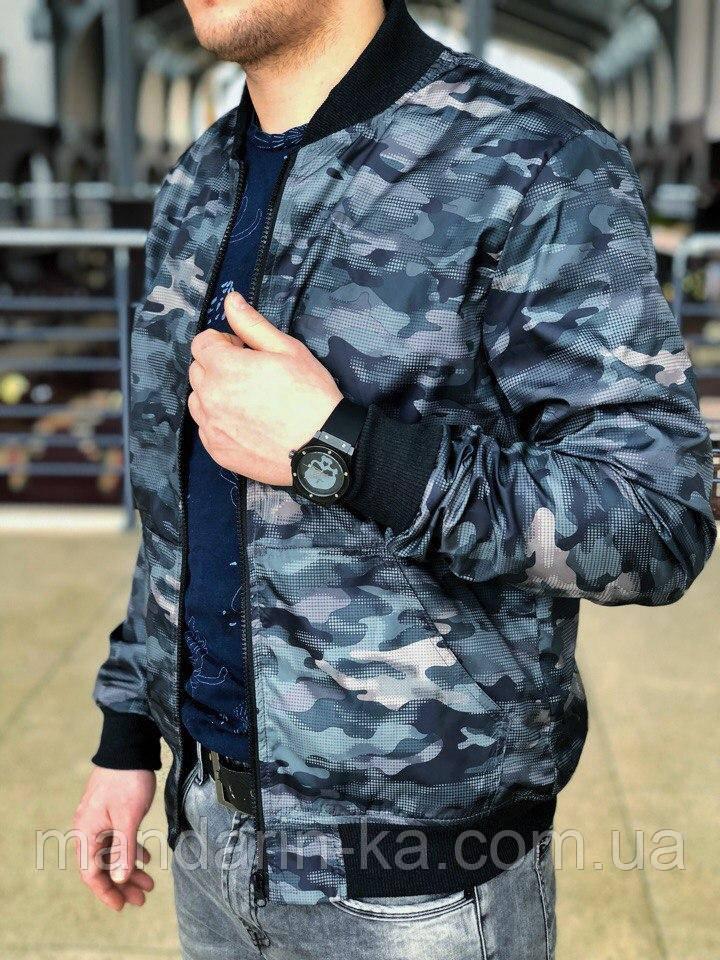 Чоловіча вітровка бомбер куртка пілот сірий камуфляж